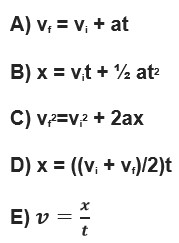 Accleleration and constant velocity equations