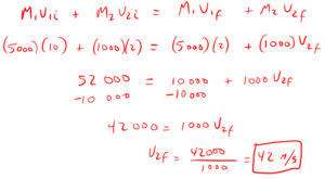 Conservation of Momentum Quiz Solution 1