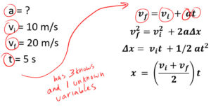 Pick the equation: acceleration Answer