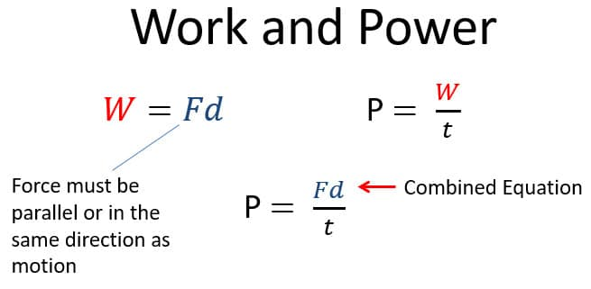 Work and Power Equations