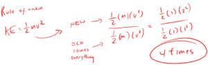 kinetic energy changes