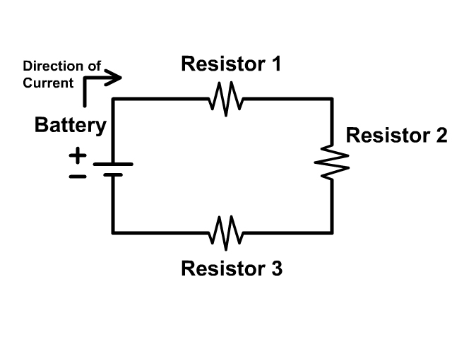 Basic circuit with three resistors and a battery in a series circuit