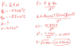 Coulombs Law for distance