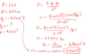 Coulombs law solving for charge