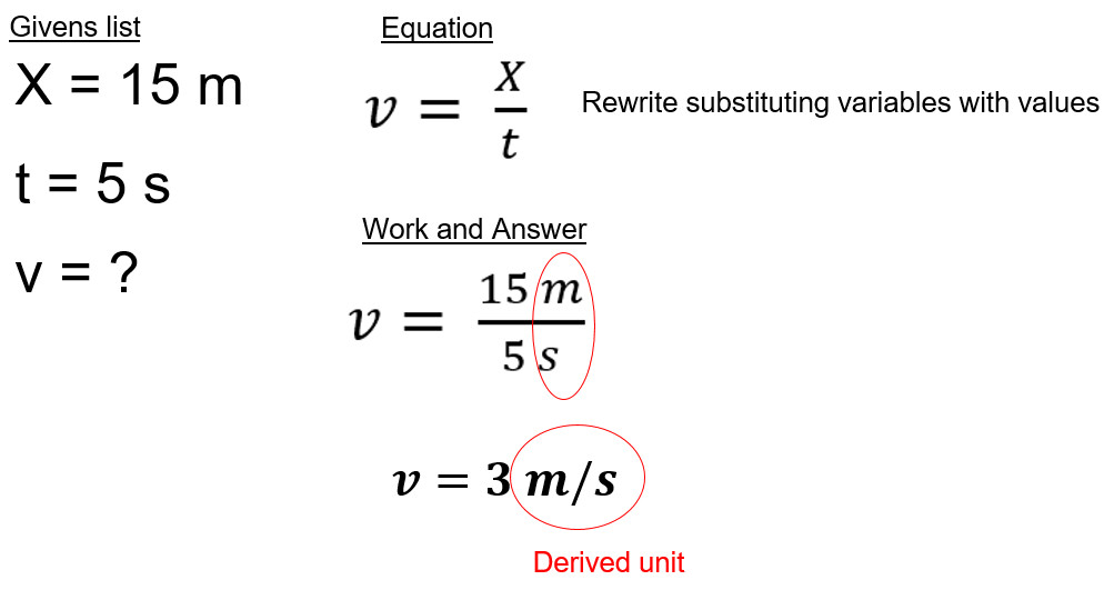 velocity equation example
